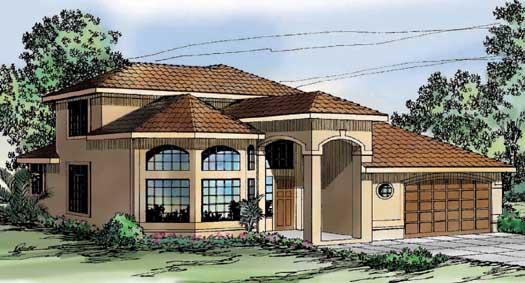 Mediterranean Style Home Design Plan: 17-276