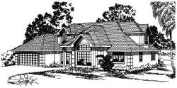 Mediterranean Style Home Design Plan: 17-287
