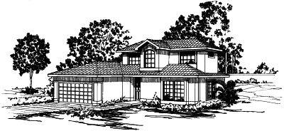 Southwest Style Home Design Plan: 17-288