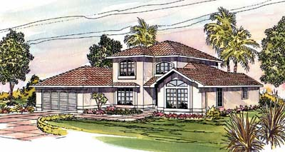 Mediterranean Style Home Design Plan: 17-289