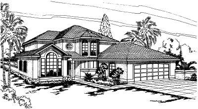Mediterranean Style Home Design Plan: 17-291