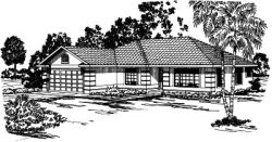 Southwest Style Home Design Plan: 17-295
