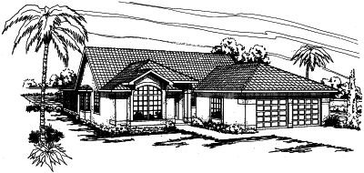 Southwest Style Home Design Plan: 17-298