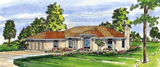 Mediterranean Style Home Design Plan: 17-299
