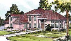 Mediterranean Style Home Design Plan: 17-302