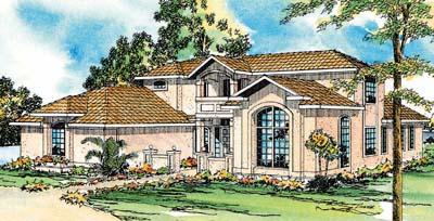 Mediterranean Style Home Design Plan: 17-303