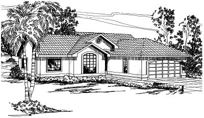 Mediterranean Style Home Design Plan: 17-305