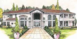 Mediterranean Style Home Design Plan: 17-308