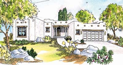 Santa-fe Style Floor Plans Plan: 17-310