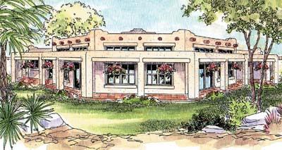 Santa-fe Style Home Design Plan: 17-311