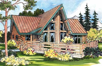 Log-cabin Style Home Design Plan: 17-319