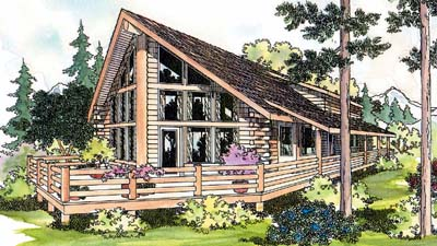 Log-cabin Style Home Design Plan: 17-322
