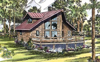 Log-cabin Style House Plans 17-323