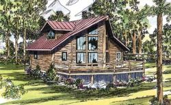 Log-Cabin Style Home Design Plan: 17-323