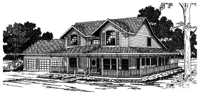 Country Style Home Design Plan: 17-328