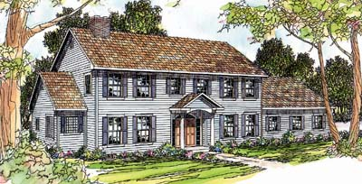 Early-american Style Home Design Plan: 17-348