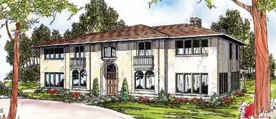 Mediterranean Style Home Design Plan: 17-353