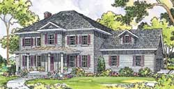 Southern-Colonial Style Home Design Plan: 17-375