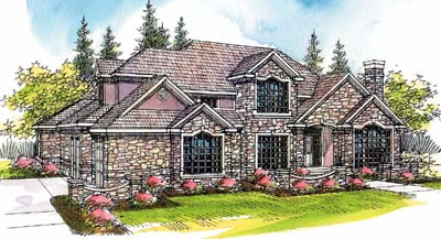 European Style House Plans Plan: 17-385
