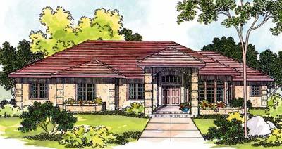 Mediterranean Style Home Design Plan: 17-422