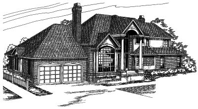 European Style Home Design Plan: 17-423