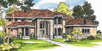 Mediterranean Style Home Design Plan: 17-424