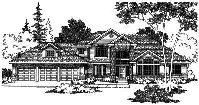 Northwest Style Home Design Plan: 17-446