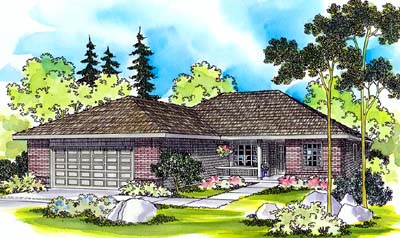 Ranch Style Home Design Plan: 17-452
