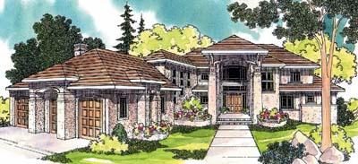 Mediterranean Style Home Design Plan: 17-475