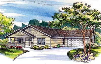 Craftsman Style Home Design 17-484