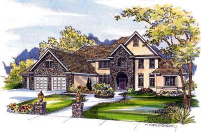 European Style Home Design Plan: 17-487
