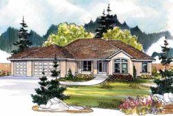 Southwest Style Home Design Plan: 17-492