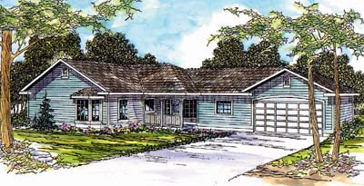 Ranch Style Home Design Plan: 17-498