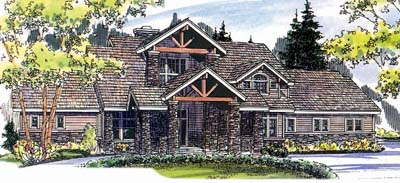 Mountain-or-rustic Style Home Design Plan: 17-509