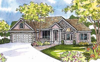 Country Style Home Design Plan: 17-534
