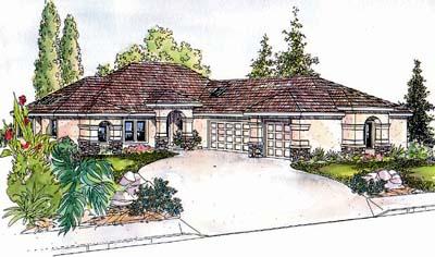 Mediterranean Style Home Design Plan: 17-590
