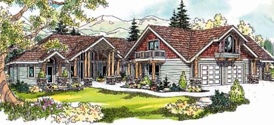 Mountain-or-rustic Style Home Design Plan: 17-654