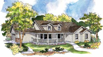 Country Style Home Design Plan: 17-673