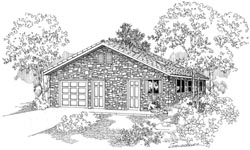 Country Style Home Design Plan: 17-695