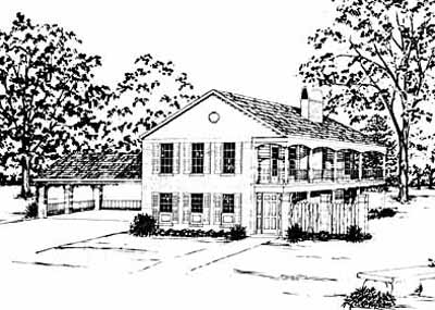 Southern-colonial Style Floor Plans Plan: 18-198