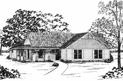 Country Style Home Design Plan: 18-199