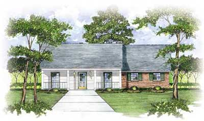 Southern Style Home Design Plan: 18-206