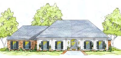 Southern Style Home Design Plan: 18-346