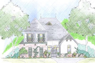 French-country Style Home Design Plan: 18-370