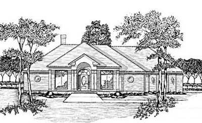 Southern Style Home Design Plan: 18-386