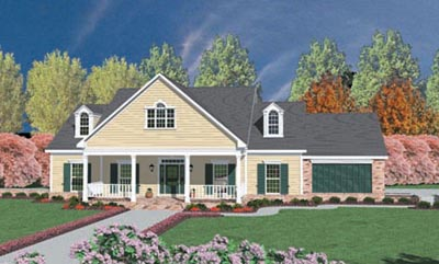 Country Style Home Design Plan: 18-388