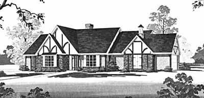 European Style Home Design Plan: 18-394