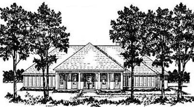 Southern Style Home Design Plan: 18-397