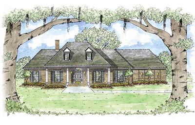French-country Style Home Design Plan: 18-406