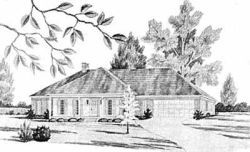 French-Country Style Home Design Plan: 18-413